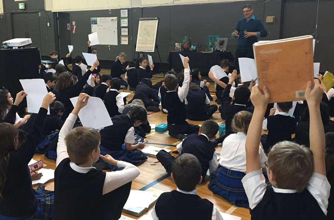 Lee Edward Fodi presents at a Vancouver school